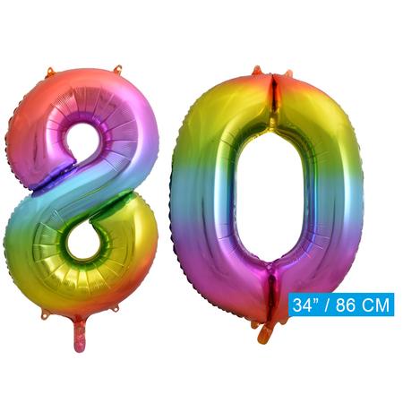 Regenboog cijfer ballon 80