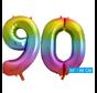 Regenboog cijfer ballon 90