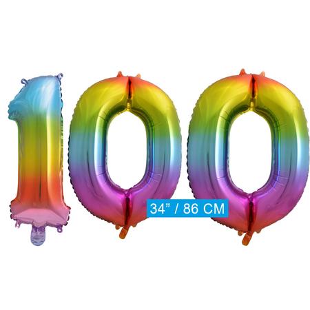 Regenboog cijfer ballon 100