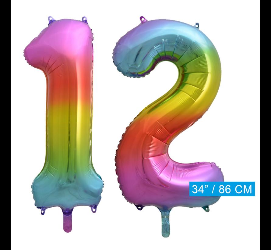 Regenboog cijfer Ballonnen 12