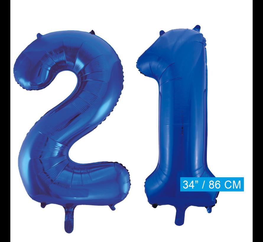 Blauwe folie ballonnen cijfer 21