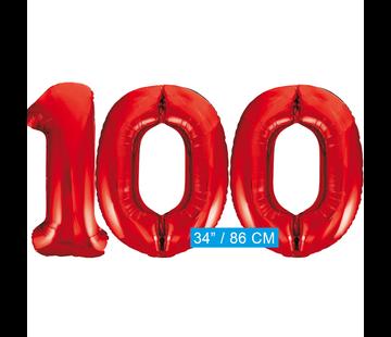 Rode cijfer ballon 100