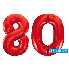 Rode cijfer ballonnen 80