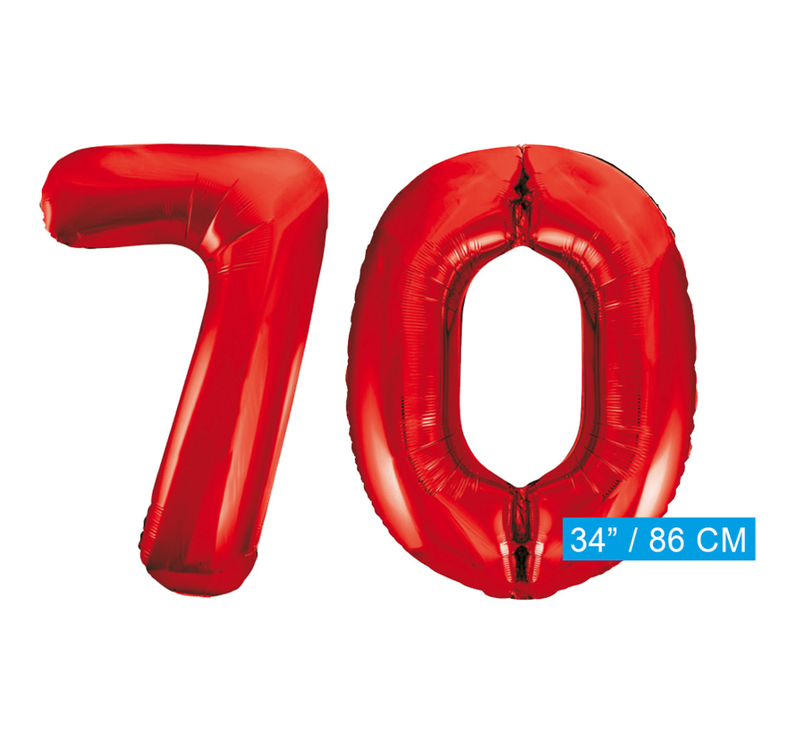 Rode cijfer ballonnen 70