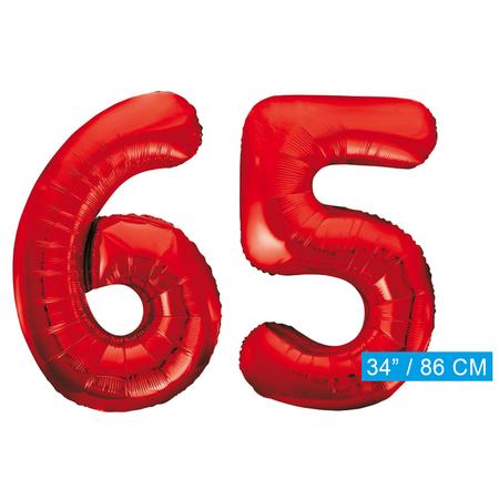 Rode cijfer ballonnen 65