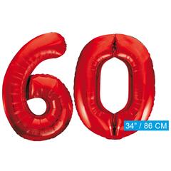 Rode cijfer ballonnen 60