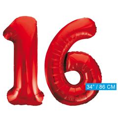 Rode cijfer ballonnen 16