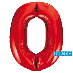 Rode cijfer ballon 0