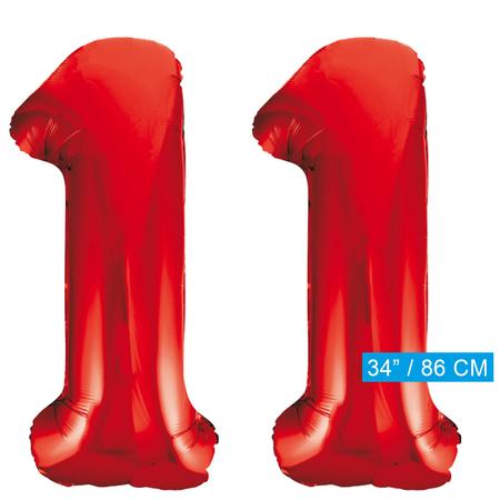 Rode cijfer ballonnen 11