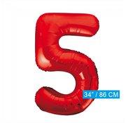 Rode cijfer ballon 5