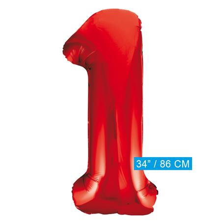 Rode  cijfer ballon 1