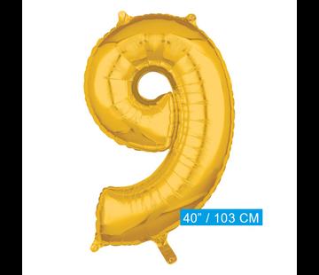 Cijfer ballon nummer 9 goud