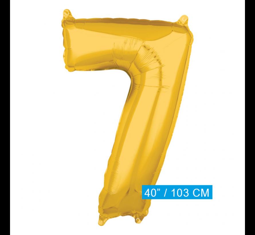 XL Folieballon nummer 7 goud - 103 cm