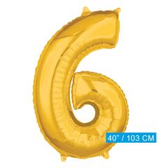 Cijfer ballon nummer 6 goud