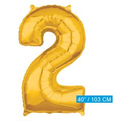 Folie cijfer 2 ballon goud
