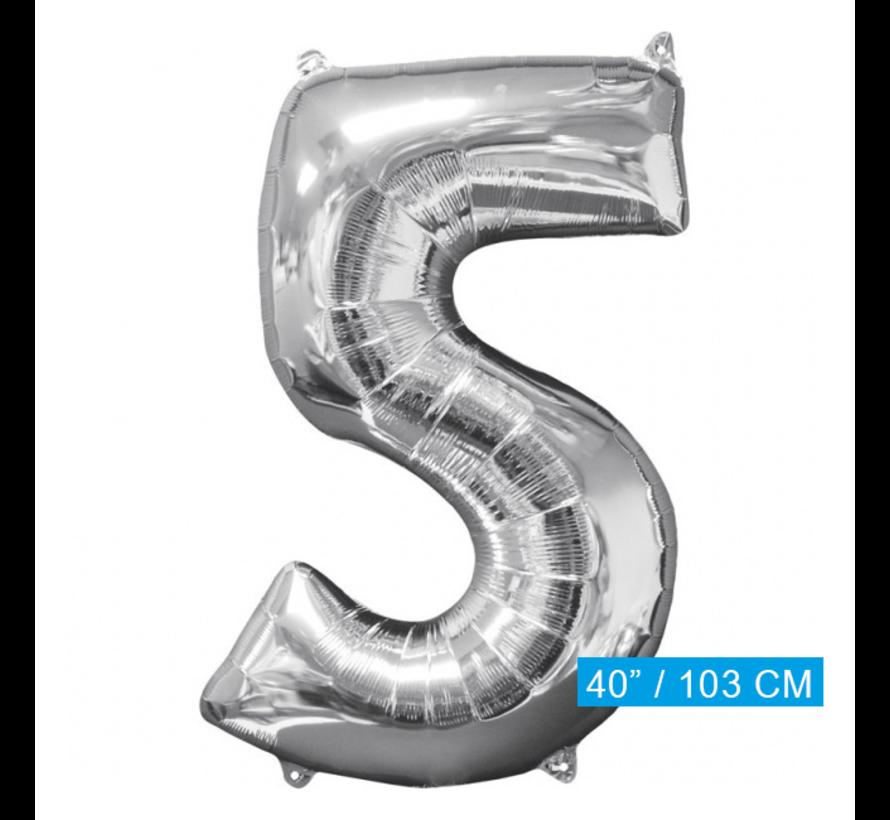 Folie ballon cijfer 5 (103 cm)