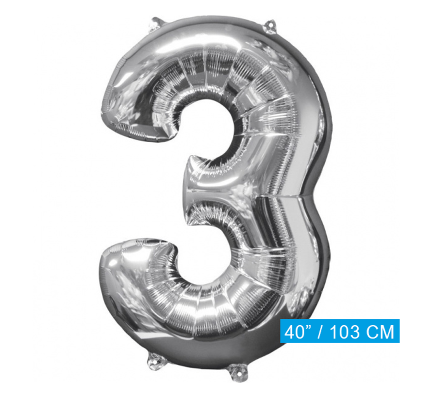 Ballon cijfer 3 (103 cm)