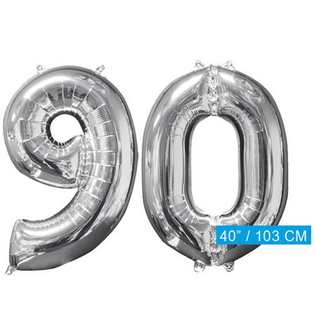 Helium cijfer ballonnen  zilver 90
