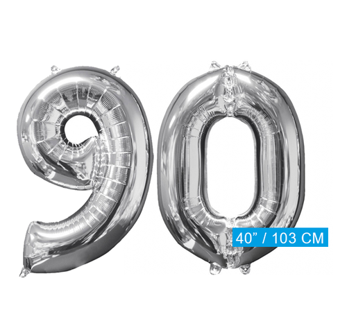 Helium ballonnen cijfers 90 zilver
