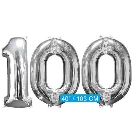 Helium cijfer ballonnen  zilver 100
