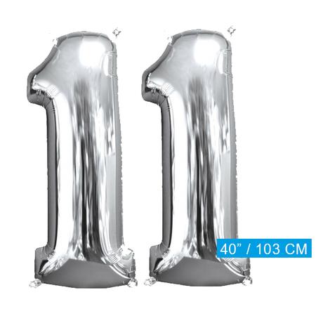 Helium ballonnen cijfers 11 zilver