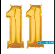Cijfer ballonnen goud 11