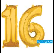 Cijfer ballonnen goud 16