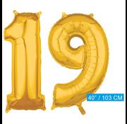 Cijfer ballonnen goud 19