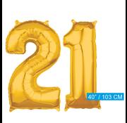 Cijfer ballonnen goud 21