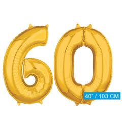 Cijfer ballonnen goud 60