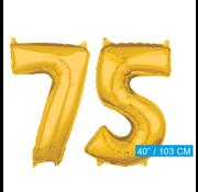 Cijfer ballonnen goud 75
