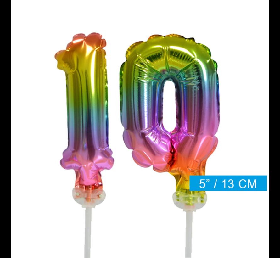 Regenboog taart decoratie ballonnen cijfers 10