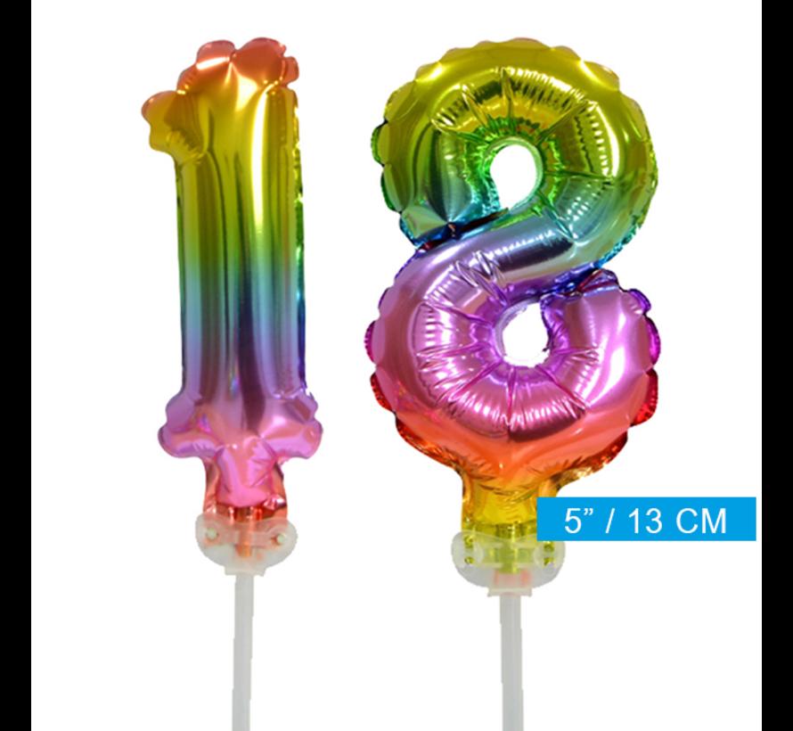 Regenboog taart decoratie ballonnen cijfers 18
