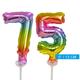 Regenboog taart decoratie ballonnen cijfers 75