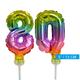 Regenboog taart decoratie ballonnen cijfers 80