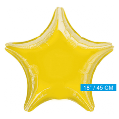 Blanco folieballon ster geel