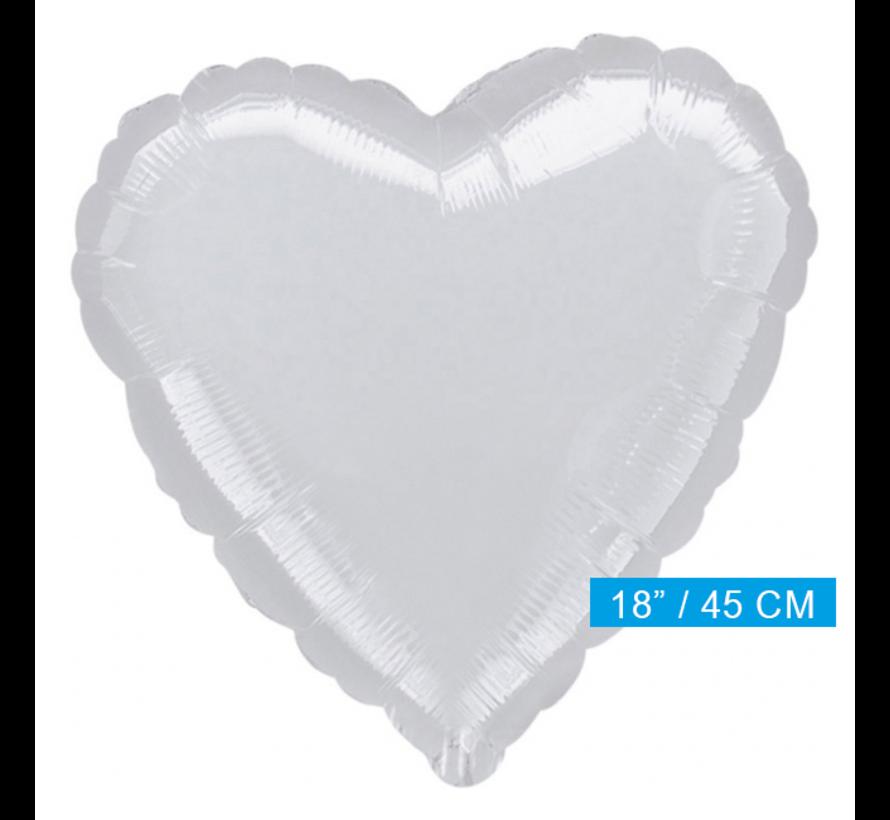 Blanco folie ballon hart zilver