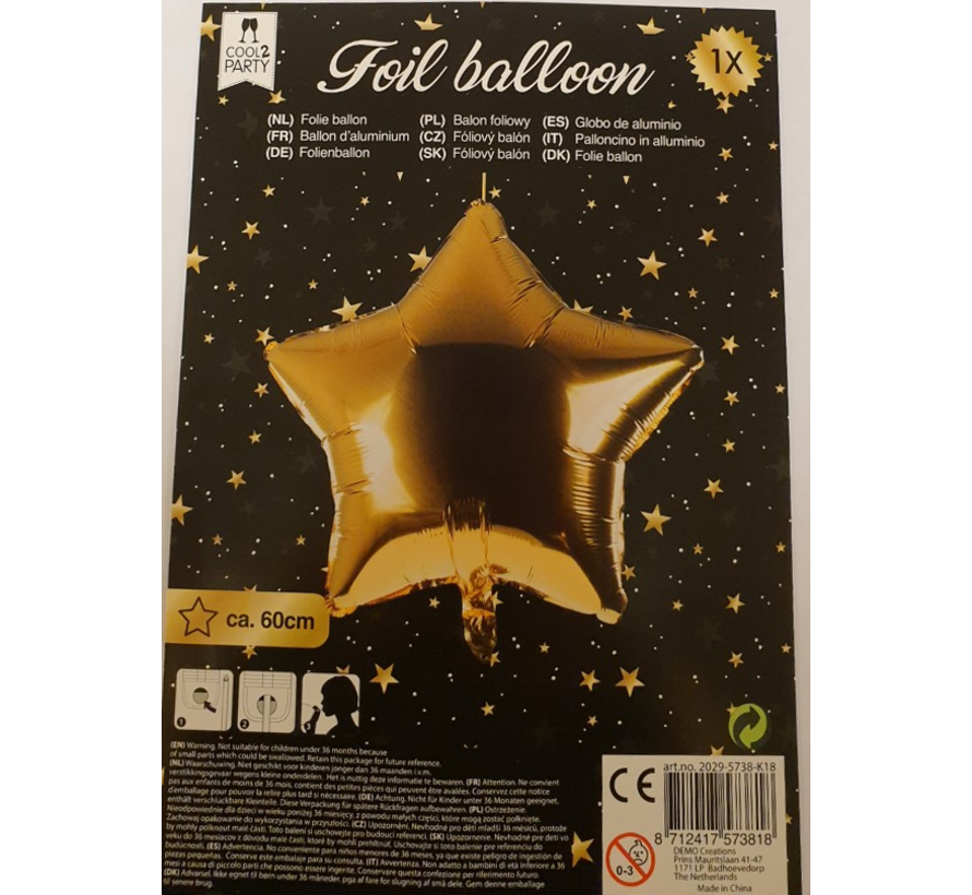 Helium ballon ster goud 60 cm leeg