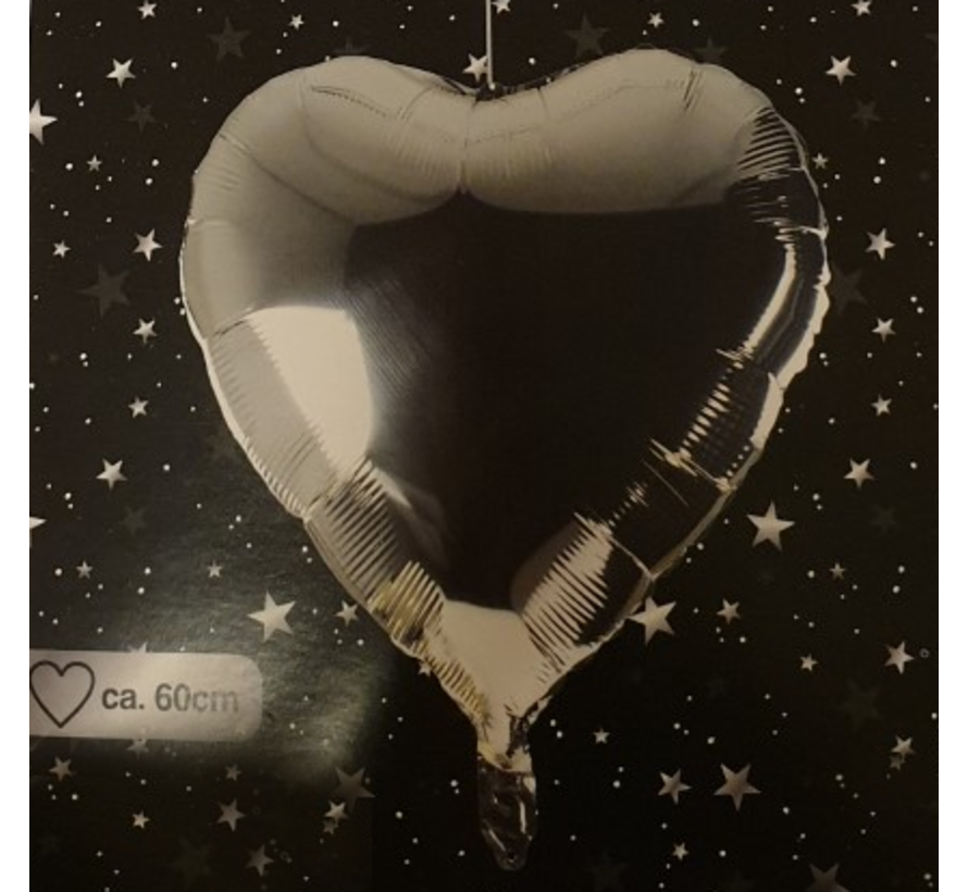 Helium ballon hart  zilver