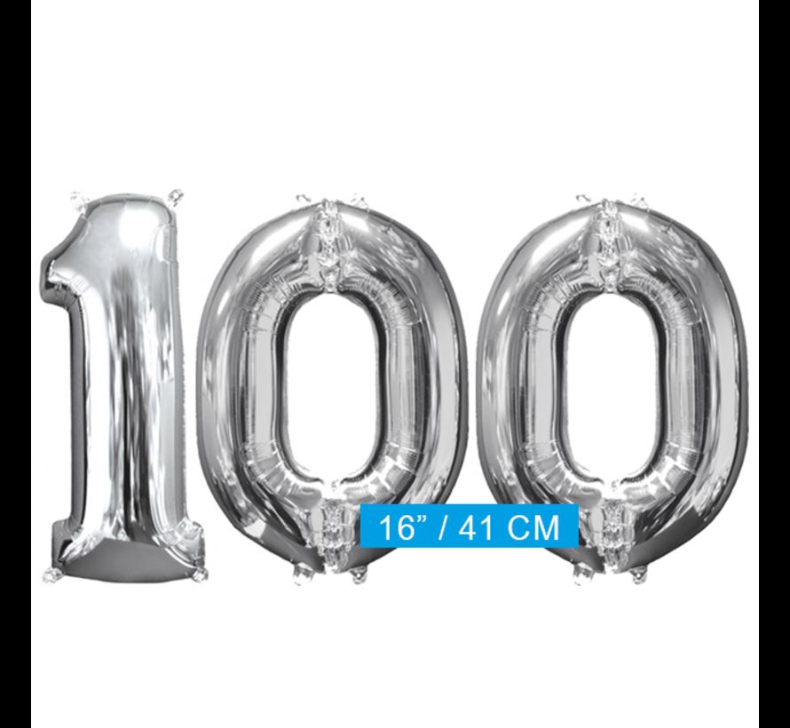 Zilveren folie ballon cijfer 100