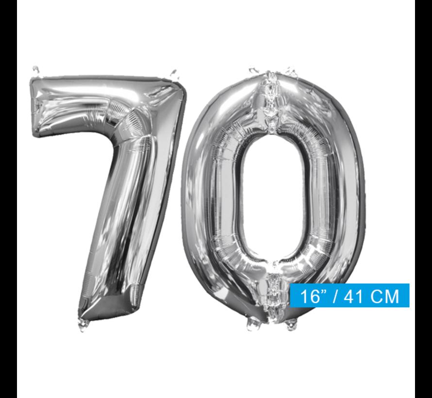 Zilveren folie ballon cijfer 70