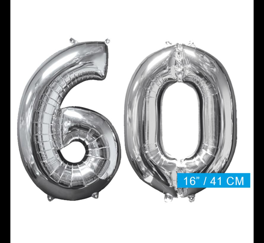 Zilveren folie ballon cijfer 60
