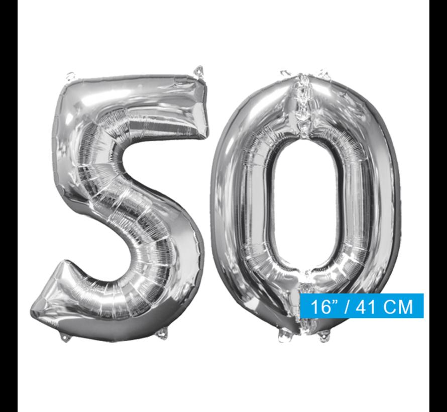Zilveren folie ballon cijfer 50