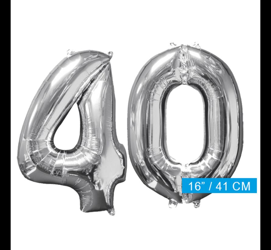 Zilveren folie ballon cijfer 40