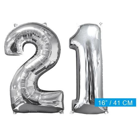 Zilveren folie ballon cijfer 21