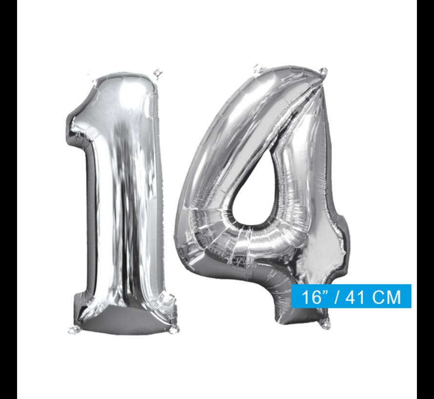 Zilveren folie ballon cijfer 14