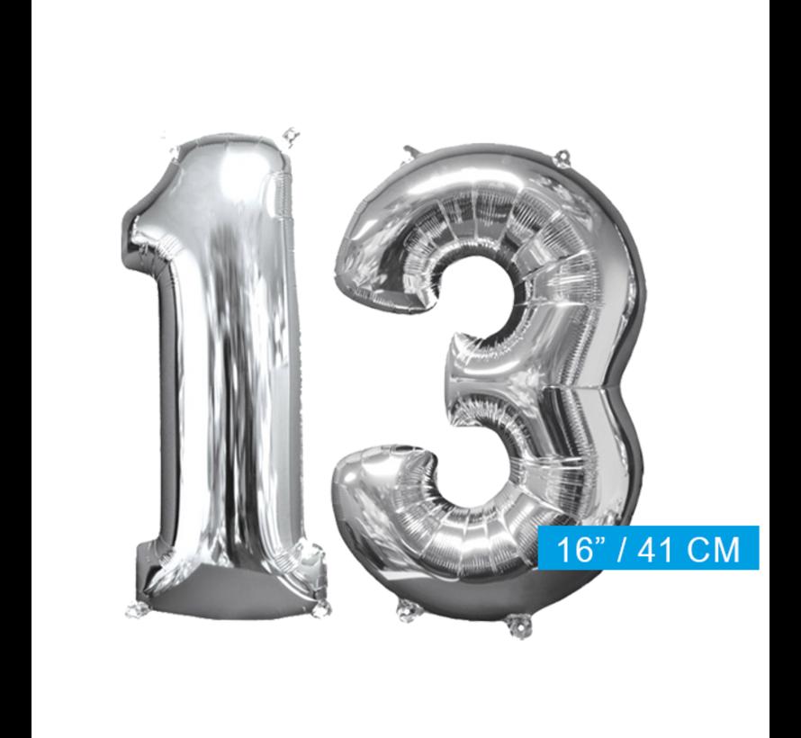Zilveren folie ballon cijfer 13