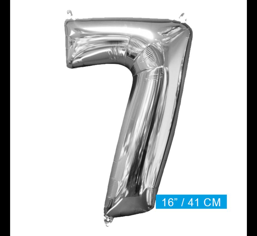 Zilveren Folie ballon Cijfer 7