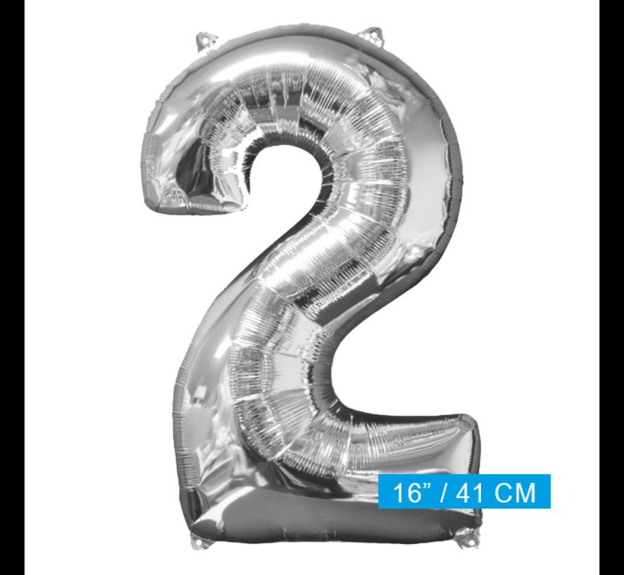 Zilveren Folie ballon Cijfer 2