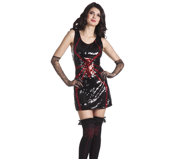 Zwarte glitter jurk
